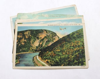 5 Vintage Delaware Water Gap Pennsylvania Postcards Used - Collage, Mixed Media, Scrapbooking, Assemblage, Paper Craft, Art Journal Supplies