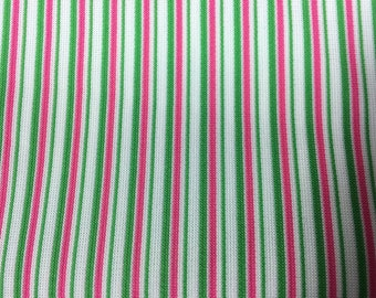 Vintage 60s 70s Upholstery Fabric Rare Candy Striper Pin Stripe Pink Green White Polyeste Upholstery Fabric