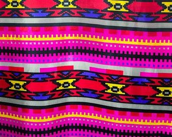 Vintage 70s 80s Fabric Aztec Printed Parachute Fabric