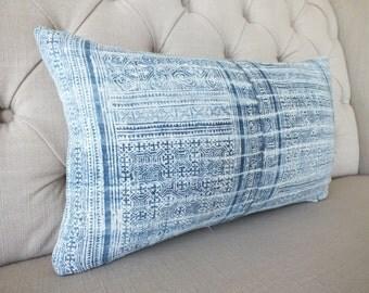 Vintage Indigo batik Hmong cushion cover, Handwoven Hemp Fabric,Scatter cushions