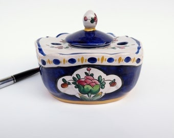 Antique Inkwell Aladin France Faience Pottery Has The Lid and Ceramic Insert Ink Pot Cobalt Blue and White French Decor
