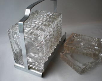Vintage Glass Set of Eight Coasters Ashtrays with Carrier