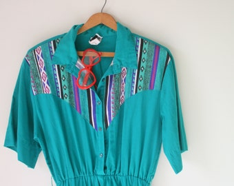 1960s WESTERN COWGIRL Dress..size medium to large..retro. teal. western. country. mod. blue dress. 60s dress. cowboy. cowgirl. southern