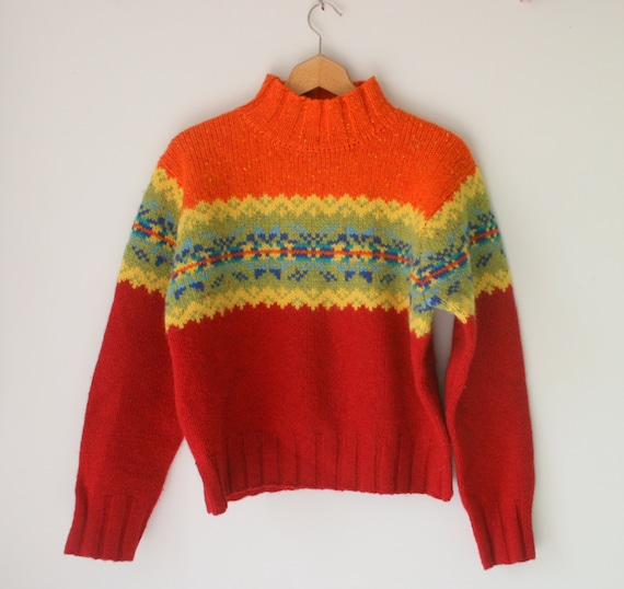 1990s EXPRESS Rainbow Sweater...express tricot. wool. large. colorful. bright. retro. knit. striped. rainbow. 1990s sweater. rad. fun