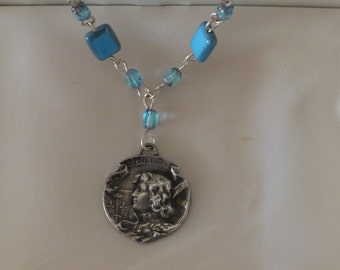 Portrait of Joan of Arc Antique French Art Nouveau Sterling Silver Medal