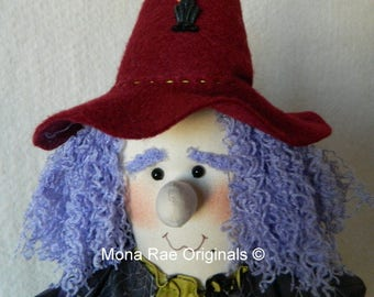 Halloween Art Witch Doll ~ KiKi the  26 Inch Poseable Soft Sculptured Witch Doll ~ Purple, Cranberry, Green~ Pumpkins,  Webs, Moon and Stars