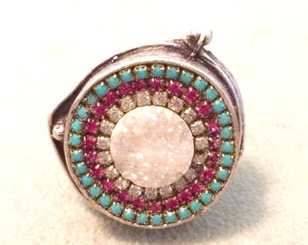 ON SALE Druzy and austrian crystal ring