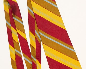 Mr John Silk Red and Yellow Striped Tie