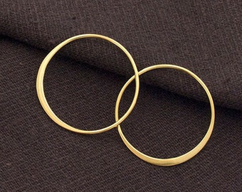 2 of 925 Sterling Silver 24k Gold Vermeil Style Circle Links, Connectors 25 mm.  Polish Finished  :vm0846