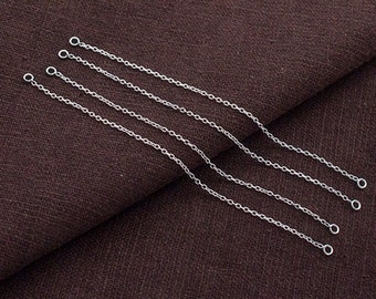 4 of 925 Sterling Silver Extender Chains , Delicate Cable Chain with 2 loops., 3.3 inches long. :th2552
