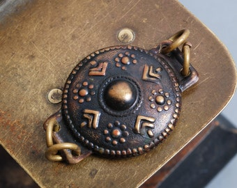 Vintage brass plate, connector, folk ethnic style