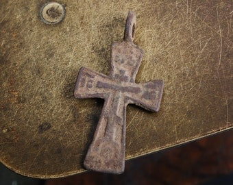 Antique small Old cross Christian Cross pendant. Orthodox church