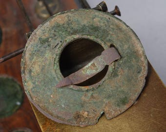Antique iron and brass brooche, ring, buckle, primitive finding