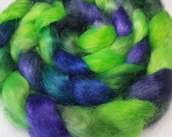 Hand Dyed Young Mohair Top  -  4 ounces - Lime Green, Blue and Purple
