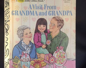 A Visit From Grandma and Grandpa - Vintage Little Golden Book