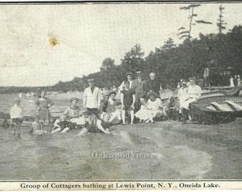 Lewis Point NY Oneida Lake Group of Cottagers Bathing Postcard, Upstate New York, Antique 1912 Ephemera, FREE SHIPPING
