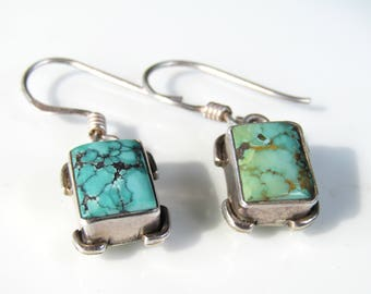 Vintage Turquoise Silver Earrings // Turquoise & Sterling Silver Dangle Earrings // Southwestern