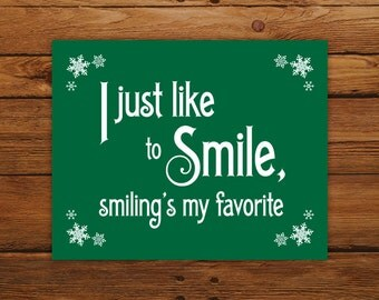 Christmas Printable Elf Movie Quote - Smiling's My Favorite Christmas Print, Red & Green Holiday Decor with Snowflakes