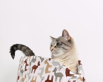 Cat Canoe Modern Cat Bed in Cute Deer and Little Eggs Fabric - kitty furniture made in USA