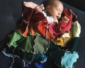 Upcycled Woolen Rainbow Swaddle Blanket