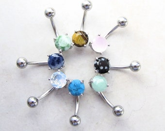 Belly Piercing,  Belly Ring, Naval Ring, Body Jewelry, Gemstone, Crystal, Jade, Turquoise, Lapis Lazuli, Tigerseye