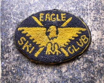 Vintage Eagle Ski Club Patch - Embroidered Varsity Patch - Great Winter Ski Lodge Decor!