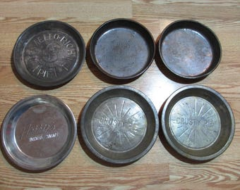6 Vintage Metal Pie Pans, Mello Rich Mrs. Smith's, Harry's Farmer's MarketCrusty Pie, Py-O-My, Home Decor, Collectible, Baking