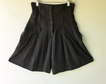 JULY SALE  - 1980s High WAISTED Shorts  // Black Lace // Button Up // Pleated Flowy // Xs