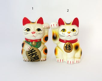 Vintage Japanese Maneki-neko white lucky cat ceramic figurine piggy bank, beckoning cats
