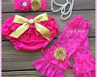 Hotpink and gold bloomer set,Posh girl Bloomers set, Ruffled baby bloomers,Hotpink diaper cover,diaper cover prop,Hotpink ruffled bloomers