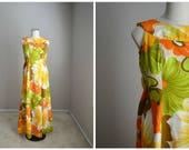 vintage 60s 70s orange yellow green luau hawaiian polynesian dress -- womens small/med