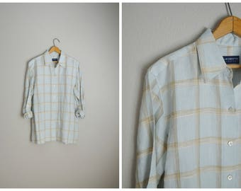 vintage 90s pastel pale blue plaid linen blouse button down breezy shirt -- womens oversized medium