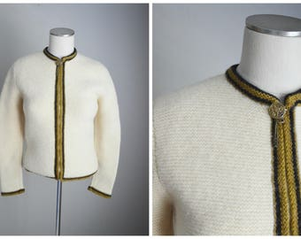 vintage 50s 60s ivory wool zip up Peck & Peck classic mid century modern cardigan sweater -- womens small
