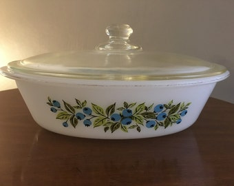 Vintage Blueberry Glasbake 1 Quart Casserole Dish with Glass Lid