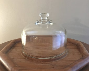 Vintage Cheese Board with Glass Cloche Teak Wood