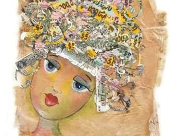 Mixed Media Money, Assemblage Art, Collage Money Art, Shredded Money Art, Original Collage Art, Coupon Bond Art, Mind On My Money, OOAK