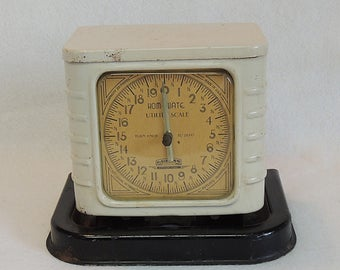 Vintage Rare Early Homewate Kitchen Utility Scale.. Beige & Black Enamel