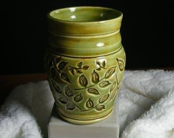 Handmade Pottery Vase,  Ceramic Vase, Ceramic Bud Vase, Green Vase, Carved Vase, Varied Green Vase, 0783