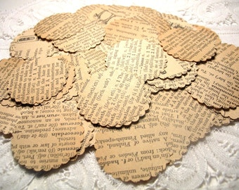 100 Vintage Dictionary Pages Scalloped Punches*Decoupage Paper*Collage Supply*Paper Ephemera*Mixed Media*Embellishments*Altered Art*Cards*