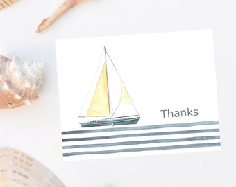 Personalized, stationery, Water Color Sailboat Thank You Notes