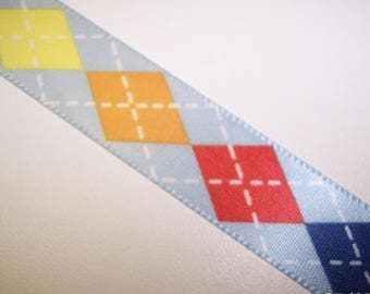 Blue Checkered Tie Ribbon 3 Yards