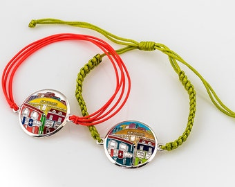 New Orleans Superdome Sterling Silver Hand Painted Bracelet