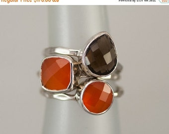 40 OFF SALE - Size 6 Rings - Gemstone Statement Ring - Stacking Ring - Stackable Rings - Birthstone Ring-  Bezel Rings - Sterling Silver Rin