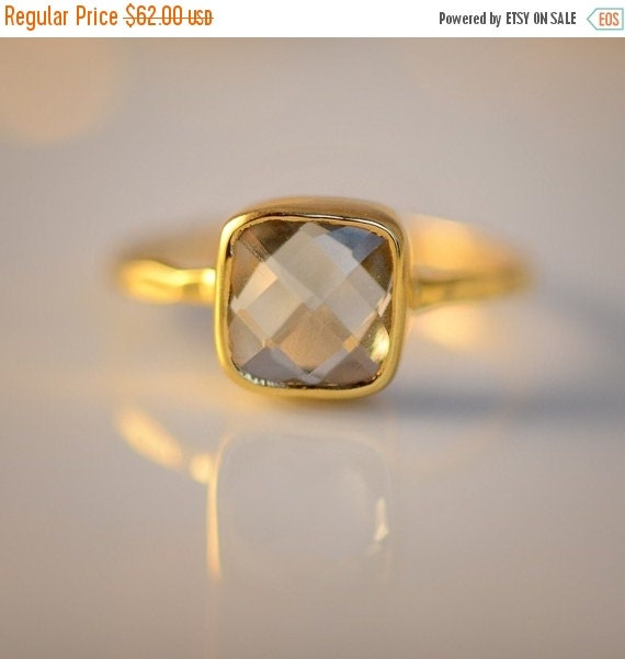 HOLIDAY SALE - Green Amethyst Ring - February Birthstone Ring - Gemstone Ring - Stacking Ring - Gold Plated - Cushion Cut Ring