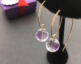 Gold Amethyst Earrings, Amethyst Jewelry, Purple Earrings, Purple Bead Earrings, Gold Wire Earrings, Modern Jewelry, Amethyst Drop Earrings