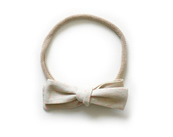 Kids Bow Headband - Beige Hand Tied Bow - Kids Hair Accessory