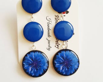 Blue Cornflower Earrings, Blue Flower Earrings, Blue Stud Dangle Earrings, Floral Earrings, Navy Blue Earrings, Delicate Earrings, For Her