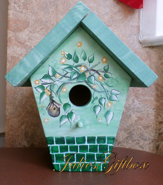 Hand Crafted, Hand Painted Bird House, Shades Of Green, Indoor/Outdoor Birdhouse Decorative, Great Gift, Mother,Father