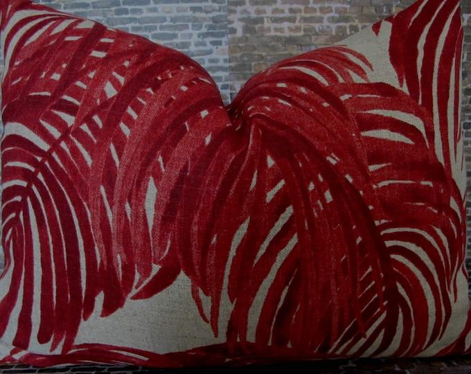 Designer Pillow Cover - Lumbar, 16 x 16, 18 x 18, 20 x 20, 22 x 22, Euro - LF Palm VGA -  Red