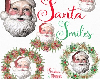 Santa Faces, Vintage Santa, 5 Watercolor clipart,Santa Smiles, Christmas Clipart, Holiday Clipart, Hand Painted Watercolor Clipart